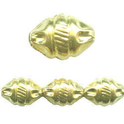 14x20mm Goldtone Hollow Brass Grecian Style OVAL Beads