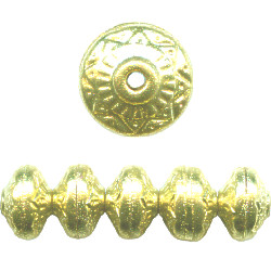 8x11mm Goldtone Hollow Brass Bohemian Style SAUCER / RONDELL Beads