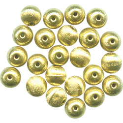 10mm Goldtone Hollow Brass Brushed Satin Textured ROUND Beads