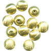 14mm Goldtone Hollow Brass Brushed Satin Textured ROUND Beads