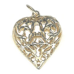 11x24x32mm Goldtone Filigree Puffy HEART Pendant
