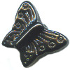 13x15mm Opaque Black Pressed Glass BUTTERFLY Beads