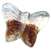 13x15mm Transparent Crystal & Brown Givre Pressed Glass BUTTERFLY Beads