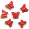 13x15mm Opaque Red Pressed Glass BUTTERFLY Beads