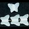 13x15mm Translucent White Pressed Glass BUTTERFLY Beads