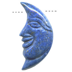 18x36mm Lapis Lazuli CRESENT MOON FACE Pendant/Focal Bead