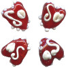 14x16mm Lampwork Glass Funky Red HEART Beads