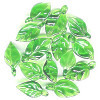 10x20mm Transparent Green Lampwork LEAF Charm Beads