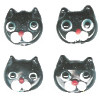 10x11mm Lampwork Glass Black CAT FACE Beads