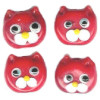 10x11mm Lampwork Glass Red CAT FACE Beads