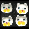10x11mm Lampwork Glass White CAT FACE Beads