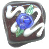 15x15mm *Blue Rose Frosting* Lampwork Chocolate Bead ~ Karen Halls