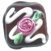 15x15mm *Red Rose Frosting* Lampwork Chocolate Bead ~ Karen Halls