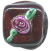 15x15mm *Red Rose* Lampwork Chocolate Bead ~ Karen Halls