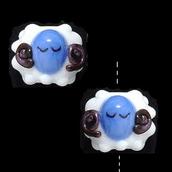 11x12mm Lampwork Glass Blue Faced LAMB/SHEEP Beads