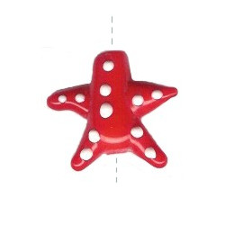 26x26mm Lampwork Glass Red & White STARFISH Bead