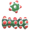 5x12mm Green, Red & White Lampwork Bumpy RONDELL / SPACER Beads