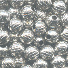 4mm Heavy Nickel-Plated Hollow Brass DIAMOND CUT ROUND Beads