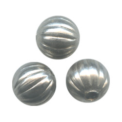 10mm Nickel-Plated Hollow Brass FLUTED ROUND Beads
