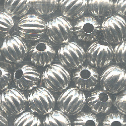 5mm Heavy Nickel-Plated Hollow Brass FLUTED ROUND Beads