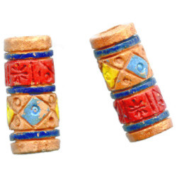 8x20mm Hand Crafted/Painted Peruvian Clay Textured TUBE Beads