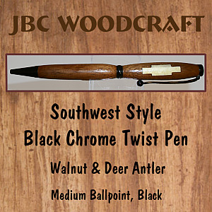 Southwest-Style Walnut & Deer Antler Inlay, Black Chrome Twist Pen ~ JBC Woodcraft®