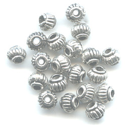 4x5mm Lead-Safe Antiqued Pewter Fluted RONDELL / SPACER Beads