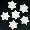 12mm Opaque White A/B Pressed Glass Dimpled STAR / SNOWFLAKE Beads