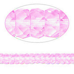 3x6mm Transparent Rose Pink Pressed Glass FACETED DISC Beads