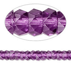 3x6mm Transparent Amethyst Pressed Glass FACETED RONDELL / DISC Beads