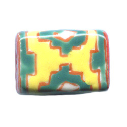 10x15mm Hand Painted *Zepotic* Design Porcelain CUBE Bead