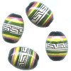 9x13mm Hand Painted Peruvian Ceramic OVAL BARREL Beads