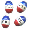 9x13mm Hand Painted Peruvian Ceramic Patriotic OVAL BARREL Beads