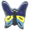 17x17mm Hand Painted Peruvian Ceramic BUTTERFLY Bead