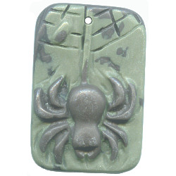 10x32x43mm Ribbon Jasper Carved SPIDER Focal / Pendant Bead