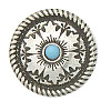 25mm Antiqued Silver Plate & Synthetic Turquoise, Mesa Round (Screwback) CONCHO, RIVET, SPOT Component