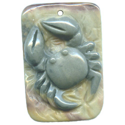 13x35x38mm Succor Creek Jasper Carved CRAB Focal / Pendant Bead