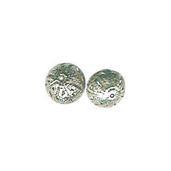 10mm Silver Plated Brass (Antiqued / Oxidized) FILIGREE ROUND Beads