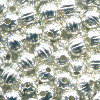 4mm Silver Plated FLUTED ROUND Beads