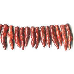 34mm to 50mm Spong Coral CHILI PEPPER Beads