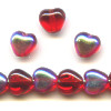 6mm Transparent Ruby Red A/B Vitrail Pressed Glass HEART Beads