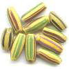 6x15mm *Vintage* Multi-striped Yellow African Watermelon Trade Beads #1