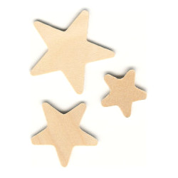 "1"" to 1-1/2"" Assorted Flat Wooden STAR Cutouts - Unfinished"