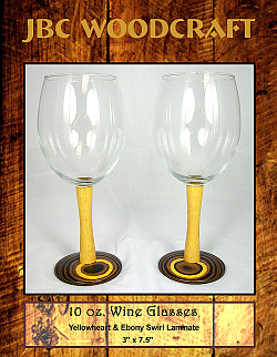 Yellowheart & Ebony Swirl Laminate 10 oz. Wine Glass Set ~ JBC Woodcraft®