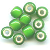 5x7mm *Vintage* Green White-Heart PONY / ROLLER Beads