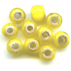 6x8mm *Vintage* Yellow White-Heart PONY / ROLLER Beads